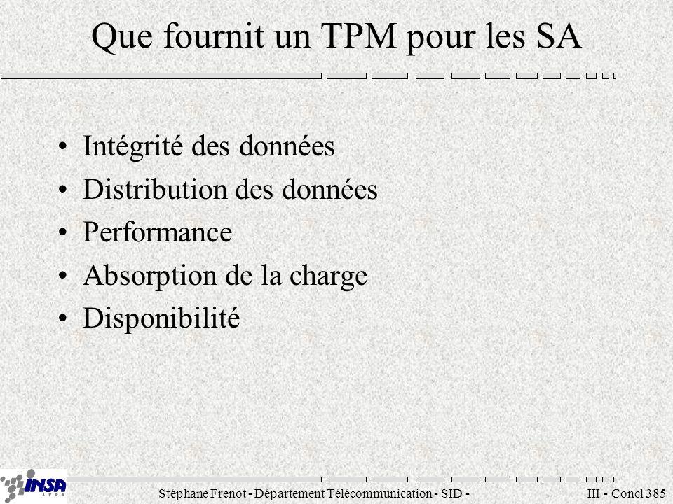 Stéphane Frenot - Département Télécommunication - SID - stephane.frenot@insa-lyon.fr III - Concl 385 Que fournit un TPM pour les SA Intégrité des donn