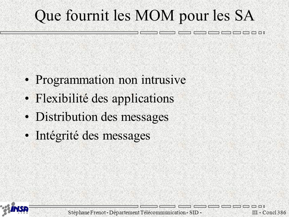 Stéphane Frenot - Département Télécommunication - SID - stephane.frenot@insa-lyon.fr III - Concl 386 Que fournit les MOM pour les SA Programmation non