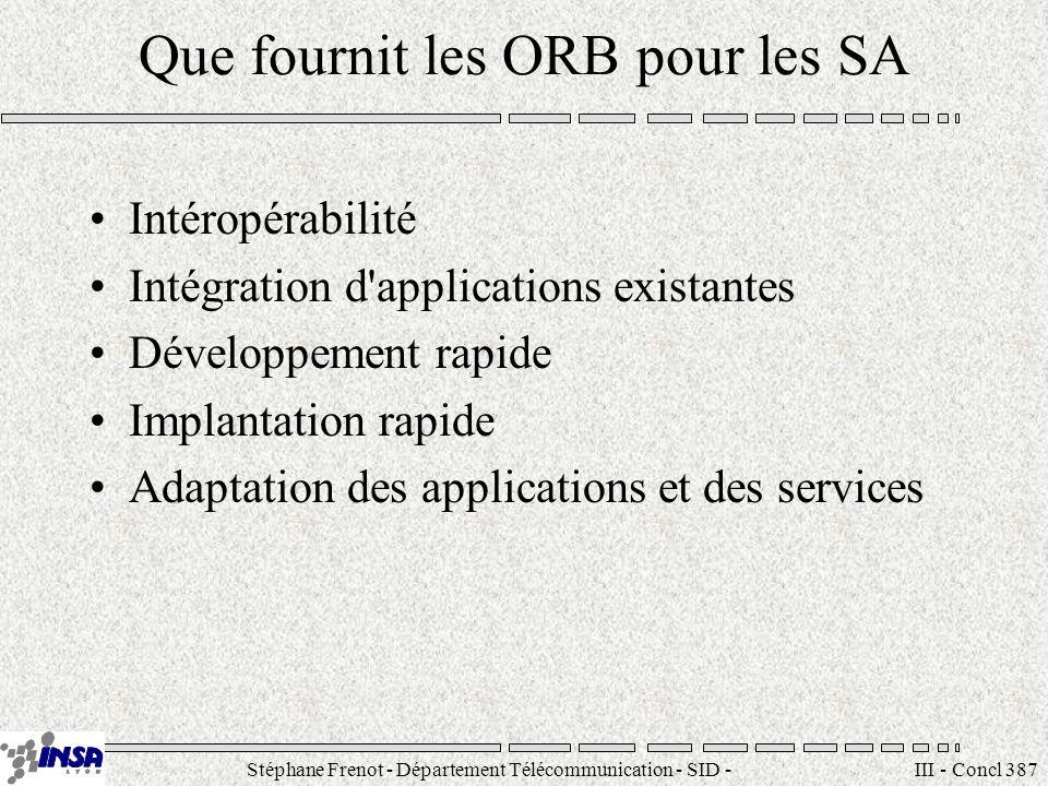 Stéphane Frenot - Département Télécommunication - SID - stephane.frenot@insa-lyon.fr III - Concl 387 Que fournit les ORB pour les SA Intéropérabilité