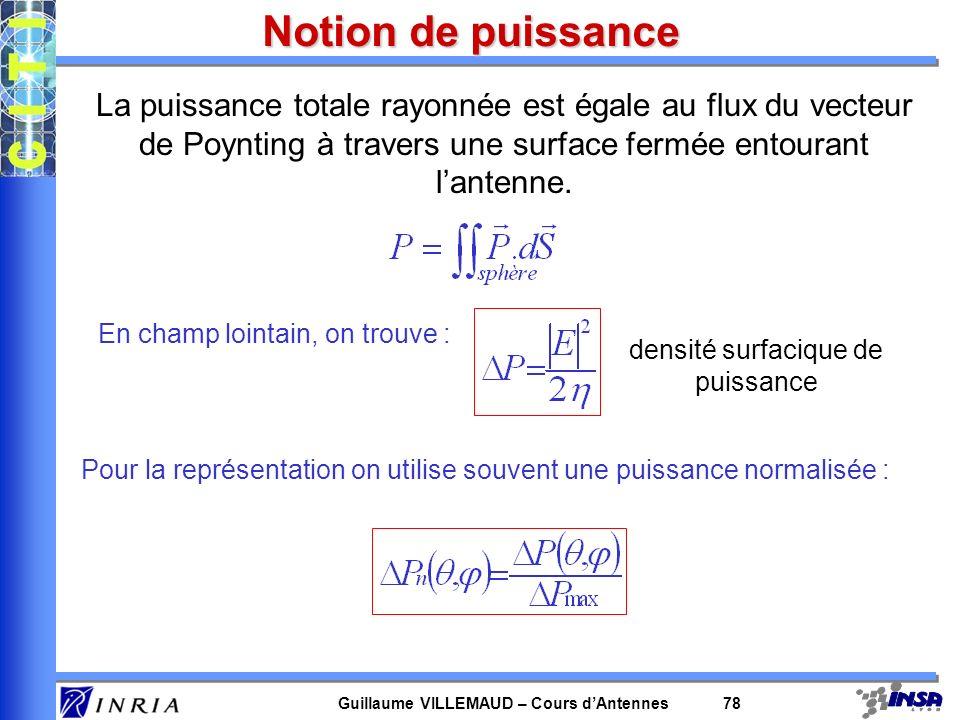 Guillaume VILLEMAUD – Cours dAntennes 78 Notion de puissance La puissance totale rayonnée est égale au flux du vecteur de Poynting à travers une surfa