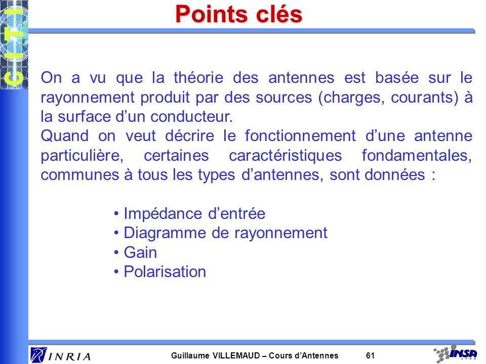 Guillaume VILLEMAUD – Cours dAntennes 61 Points clés On a vu que la théorie des antennes est basée sur le rayonnement produit par des sources (charges