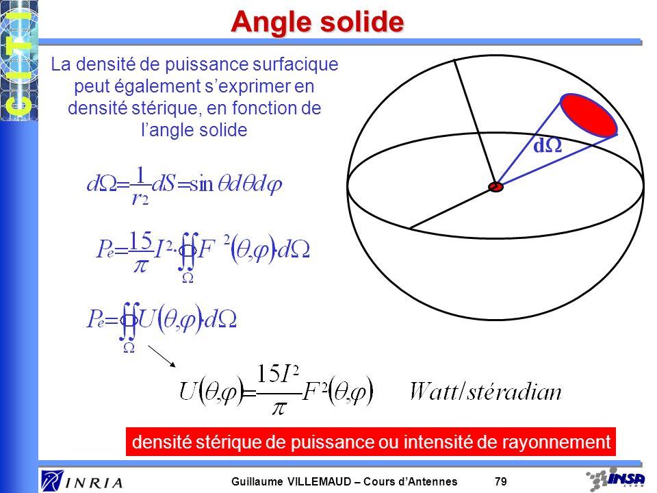 Guillaume VILLEMAUD – Cours dAntennes 79 Angle solide d La densité de puissance surfacique peut également sexprimer en densité stérique, en fonction d