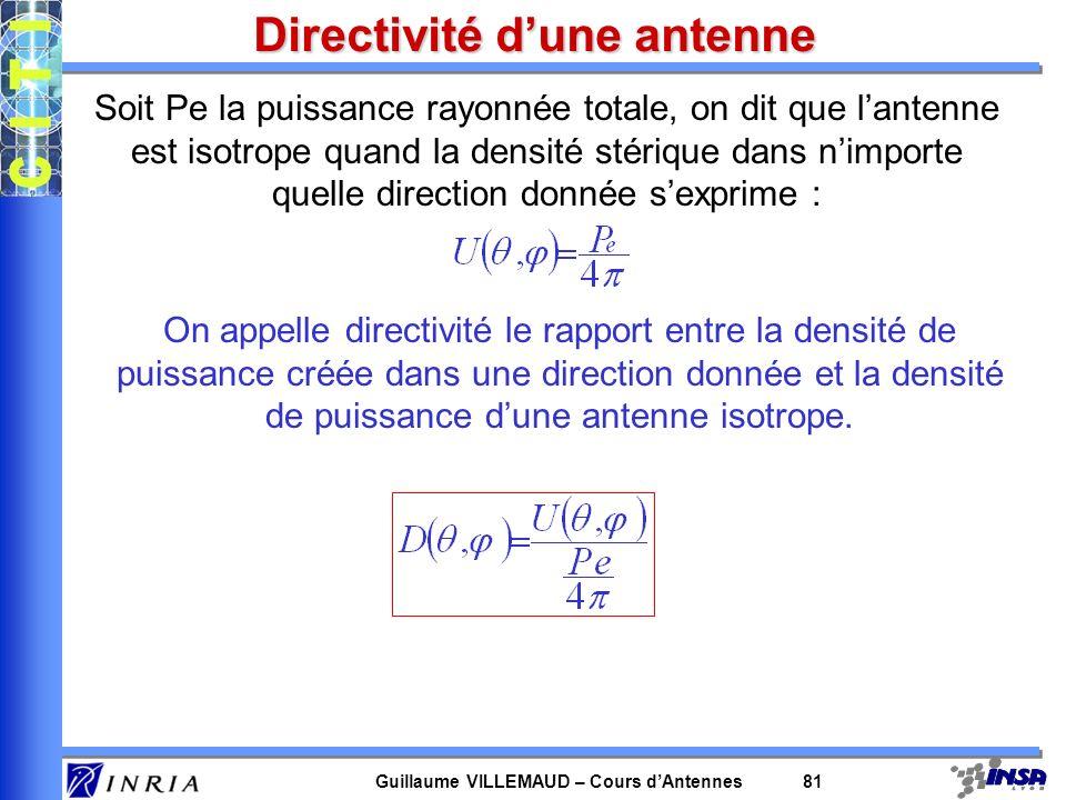 Guillaume VILLEMAUD – Cours dAntennes 81 Directivité dune antenne Soit Pe la puissance rayonnée totale, on dit que lantenne est isotrope quand la dens