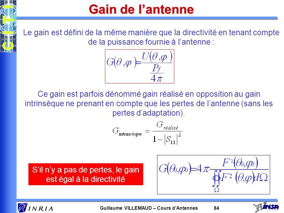 Guillaume VILLEMAUD – Cours dAntennes 84 Gain de lantenne Le gain est défini de la même manière que la directivité en tenant compte de la puissance fo
