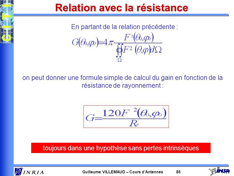 Guillaume VILLEMAUD – Cours dAntennes 85 Relation avec la résistance En partant de la relation précédente : on peut donner une formule simple de calcu