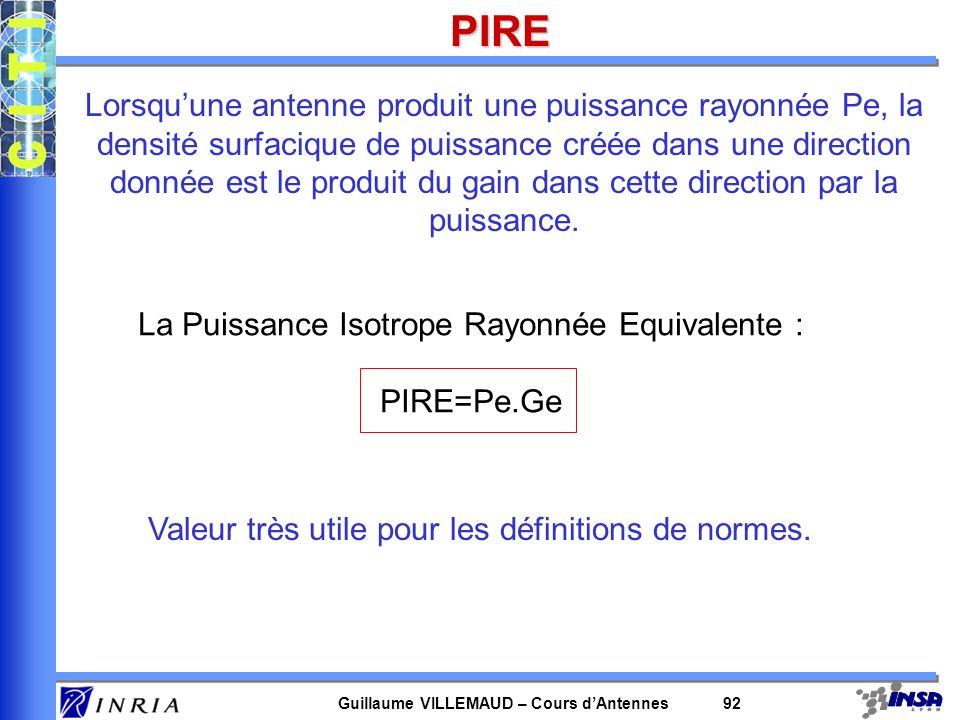 Guillaume VILLEMAUD – Cours dAntennes 92PIRE Lorsquune antenne produit une puissance rayonnée Pe, la densité surfacique de puissance créée dans une di