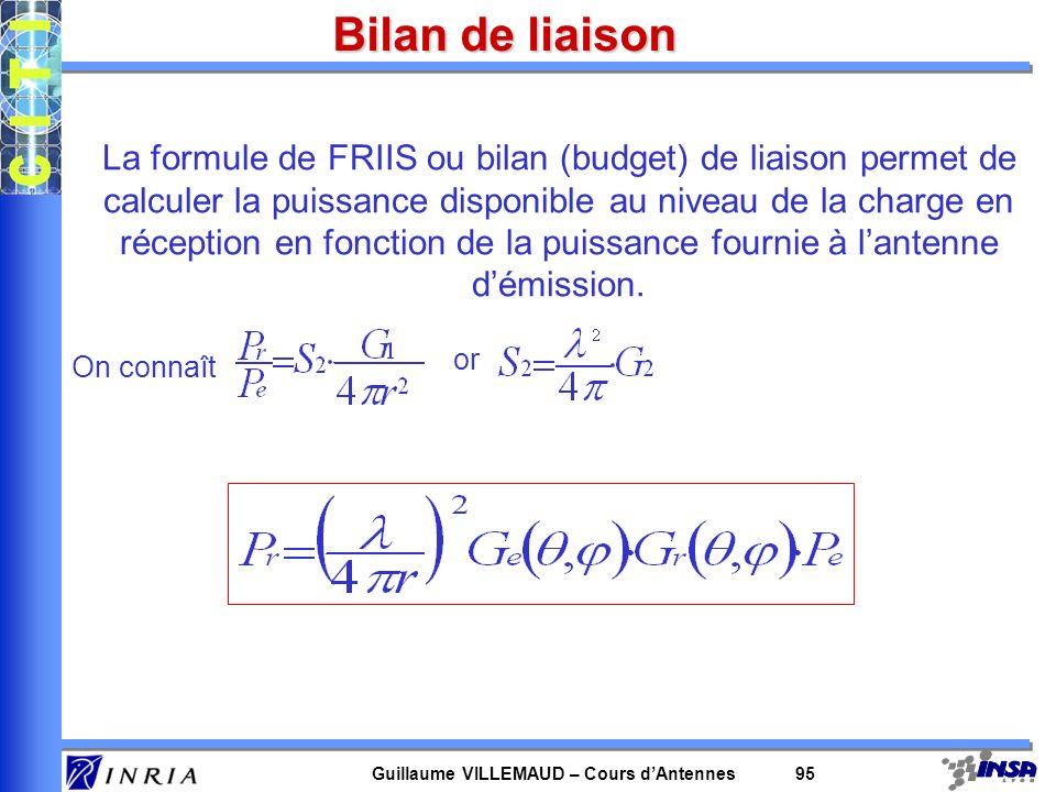 Guillaume VILLEMAUD – Cours dAntennes 95 Bilan de liaison La formule de FRIIS ou bilan (budget) de liaison permet de calculer la puissance disponible