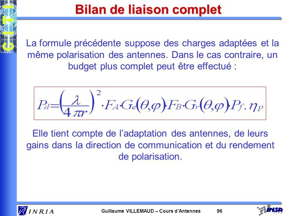 Guillaume VILLEMAUD – Cours dAntennes 96 Bilan de liaison complet La formule précédente suppose des charges adaptées et la même polarisation des anten