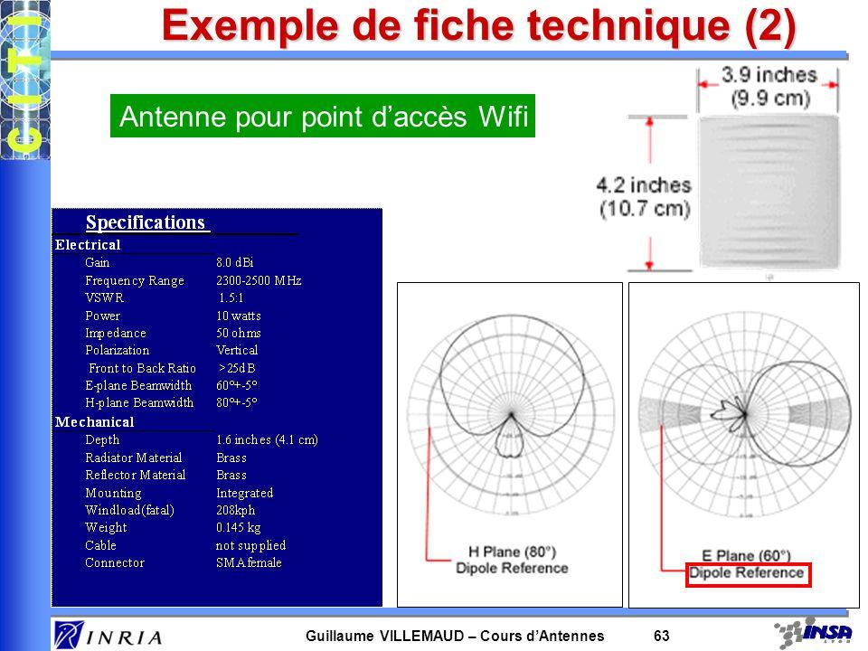 Guillaume VILLEMAUD – Cours dAntennes 63 Exemple de fiche technique (2) Antenne pour point daccès Wifi