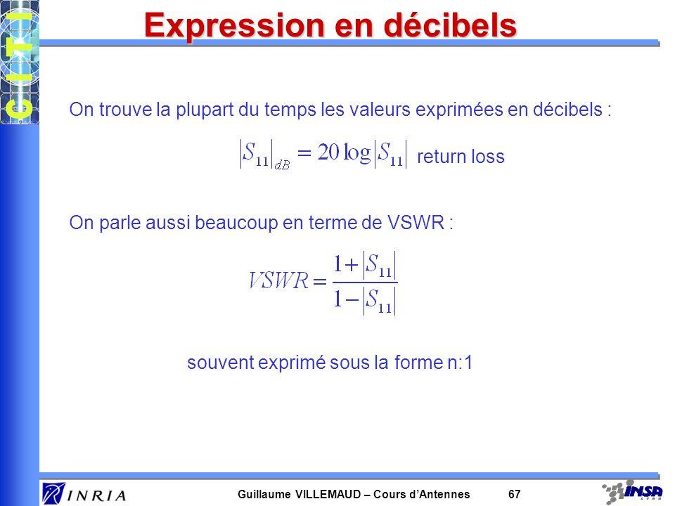 Guillaume VILLEMAUD – Cours dAntennes 67 Expression en décibels On trouve la plupart du temps les valeurs exprimées en décibels : On parle aussi beauc
