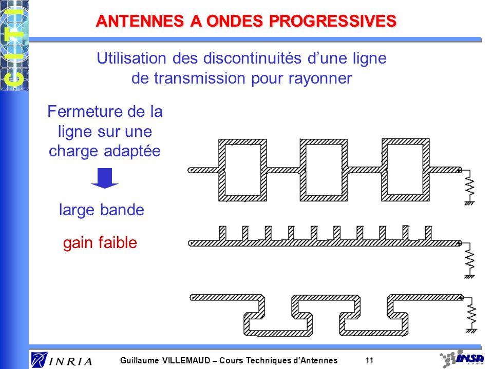 Guillaume VILLEMAUD – Cours Techniques dAntennes 11 ANTENNES A ONDES PROGRESSIVES Utilisation des discontinuités dune ligne de transmission pour rayon