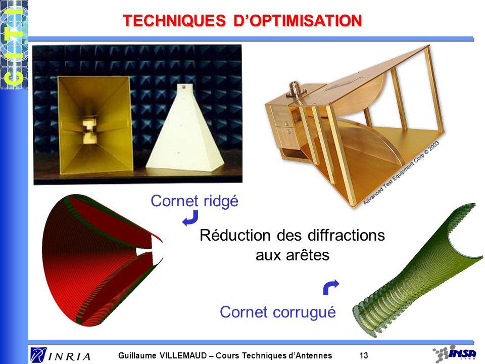 Guillaume VILLEMAUD – Cours Techniques dAntennes 13 TECHNIQUES DOPTIMISATION Cornet ridgé Cornet corrugué Réduction des diffractions aux arêtes