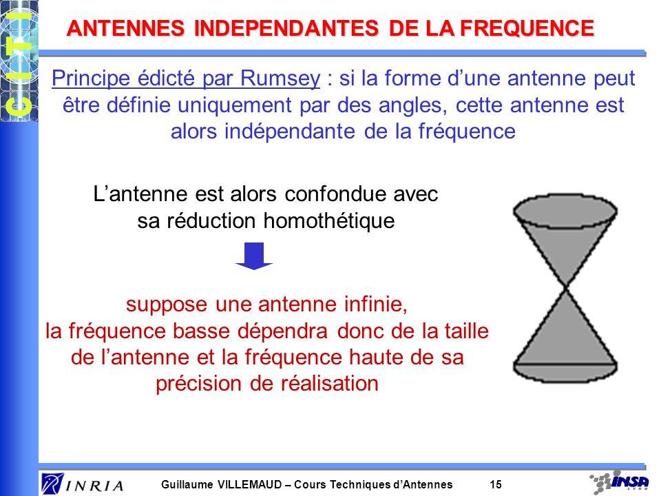 Guillaume VILLEMAUD – Cours Techniques dAntennes 15 ANTENNES INDEPENDANTES DE LA FREQUENCE Principe édicté par Rumsey : si la forme dune antenne peut