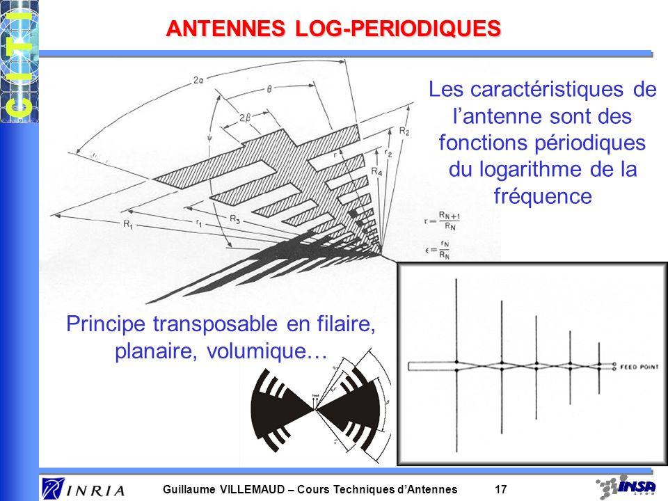 Guillaume VILLEMAUD – Cours Techniques dAntennes 17 ANTENNES LOG-PERIODIQUES Les caractéristiques de lantenne sont des fonctions périodiques du logari
