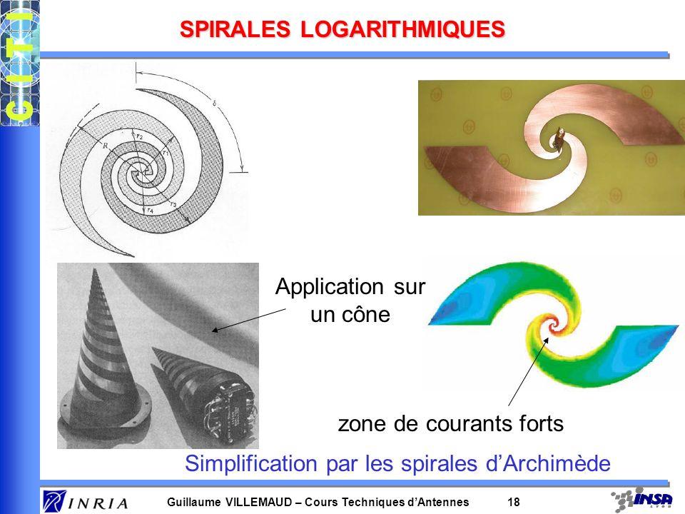 Guillaume VILLEMAUD – Cours Techniques dAntennes 18 SPIRALES LOGARITHMIQUES Simplification par les spirales dArchimède zone de courants forts Applicat