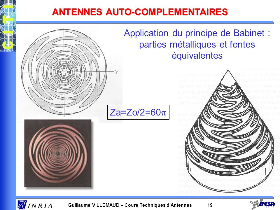 Guillaume VILLEMAUD – Cours Techniques dAntennes 19 ANTENNES AUTO-COMPLEMENTAIRES Application du principe de Babinet : parties métalliques et fentes é