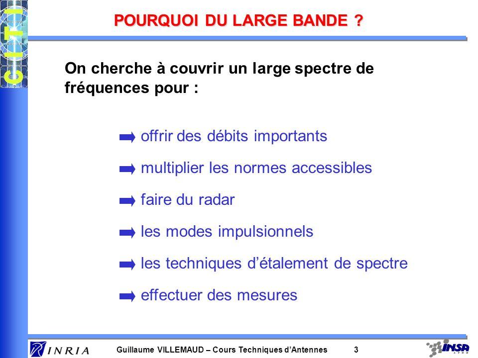 Guillaume VILLEMAUD – Cours Techniques dAntennes 3 POURQUOI DU LARGE BANDE ? On cherche à couvrir un large spectre de fréquences pour : offrir des déb