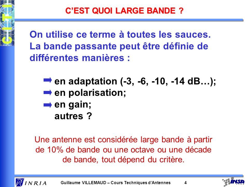Guillaume VILLEMAUD – Cours Techniques dAntennes 4 CEST QUOI LARGE BANDE ? On utilise ce terme à toutes les sauces. La bande passante peut être défini