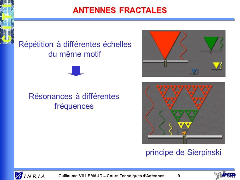 Guillaume VILLEMAUD – Cours Techniques dAntennes 9 ANTENNES FRACTALES principe de Sierpinski Répétition à différentes échelles du même motif Résonance