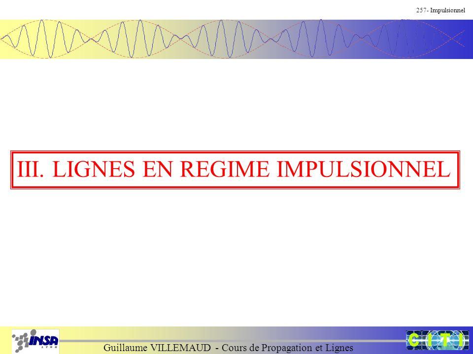 Guillaume VILLEMAUD - Cours de Propagation et Lignes 257- Impulsionnel III. LIGNES EN REGIME IMPULSIONNEL