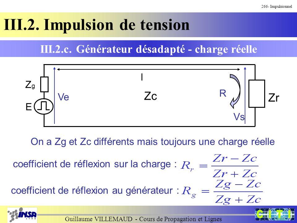 Guillaume VILLEMAUD - Cours de Propagation et Lignes 266- Impulsionnel III.2. Impulsion de tension III.2.c. Générateur désadapté - charge réelle Zr Zg