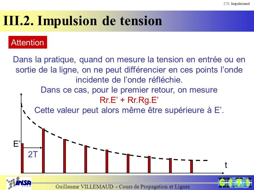 Guillaume VILLEMAUD - Cours de Propagation et Lignes 270- Impulsionnel III.2. Impulsion de tension Attention Dans la pratique, quand on mesure la tens