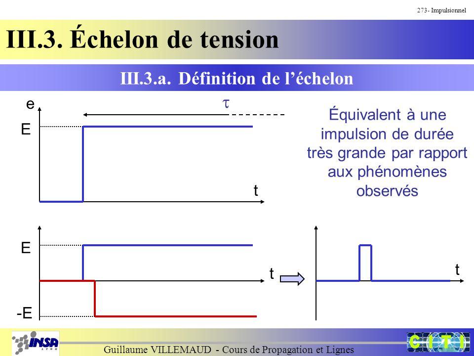Guillaume VILLEMAUD - Cours de Propagation et Lignes 273- Impulsionnel III.3. Échelon de tension III.3.a. Définition de léchelon e t E Équivalent à un