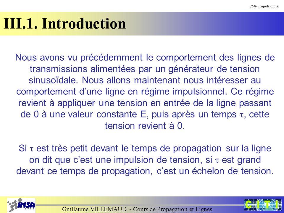 Guillaume VILLEMAUD - Cours de Propagation et Lignes 258- Impulsionnel III.1. Introduction Nous avons vu précédemment le comportement des lignes de tr
