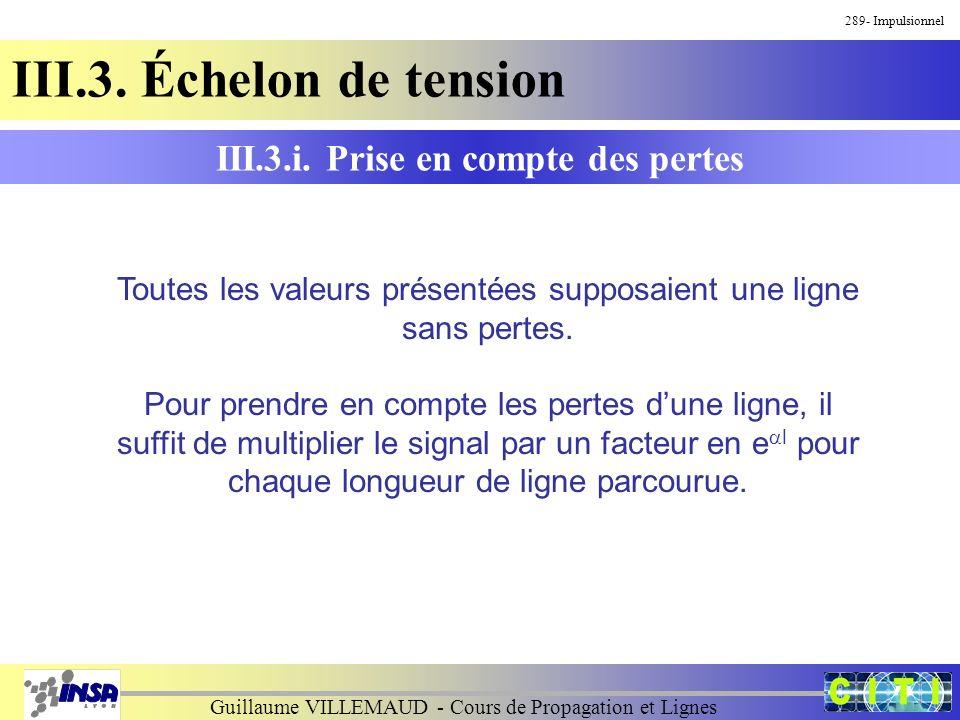 Guillaume VILLEMAUD - Cours de Propagation et Lignes 289- Impulsionnel III.3. Échelon de tension III.3.i. Prise en compte des pertes Toutes les valeur