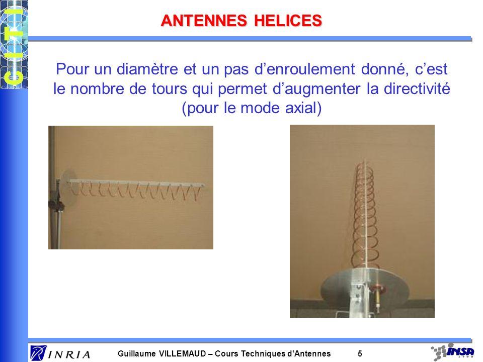 Guillaume VILLEMAUD – Cours Techniques dAntennes 5 ANTENNES HELICES Pour un diamètre et un pas denroulement donné, cest le nombre de tours qui permet