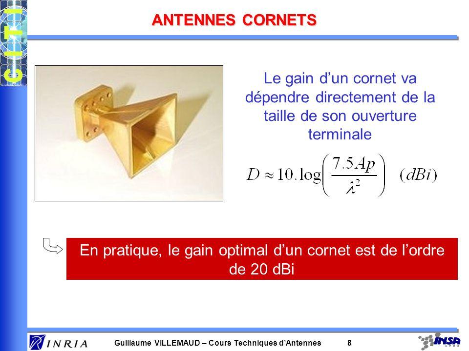 Guillaume VILLEMAUD – Cours Techniques dAntennes 8 ANTENNES CORNETS Le gain dun cornet va dépendre directement de la taille de son ouverture terminale