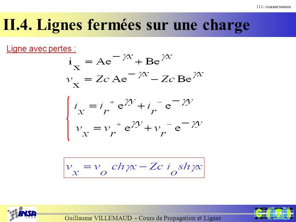 Guillaume VILLEMAUD - Cours de Propagation et Lignes 111- courant tension II.4. Lignes fermées sur une charge Ligne avec pertes :