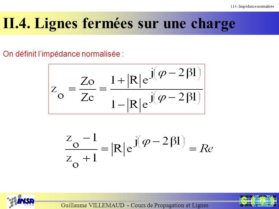 Guillaume VILLEMAUD - Cours de Propagation et Lignes On définit limpédance normalisée : 114- Impédance normalisée II.4. Lignes fermées sur une charge