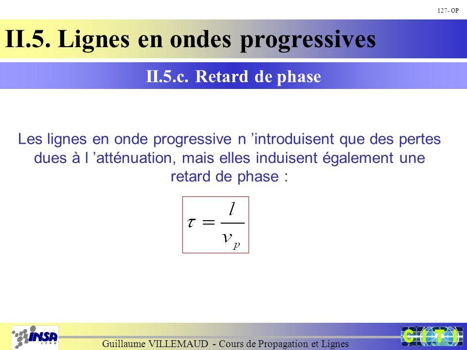 Guillaume VILLEMAUD - Cours de Propagation et Lignes 127- OP II.5. Lignes en ondes progressives II.5.c. Retard de phase Les lignes en onde progressive