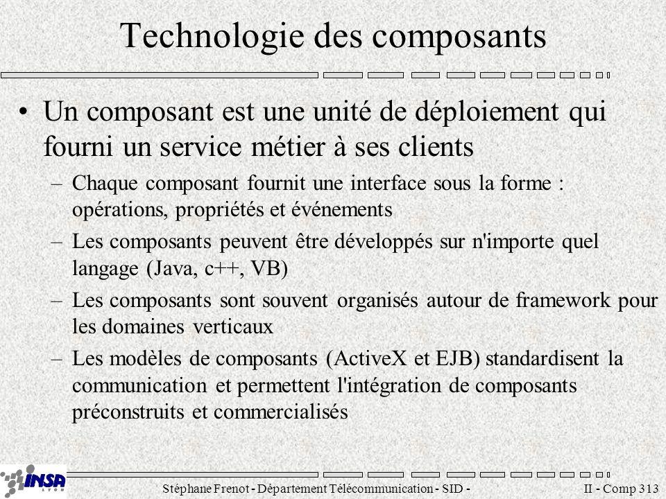 Stéphane Frenot - Département Télécommunication - SID - stephane.frenot@insa-lyon.fr II - Comp 313 Technologie des composants Un composant est une unité de déploiement qui fourni un service métier à ses clients –Chaque composant fournit une interface sous la forme : opérations, propriétés et événements –Les composants peuvent être développés sur n importe quel langage (Java, c++, VB) –Les composants sont souvent organisés autour de framework pour les domaines verticaux –Les modèles de composants (ActiveX et EJB) standardisent la communication et permettent l intégration de composants préconstruits et commercialisés