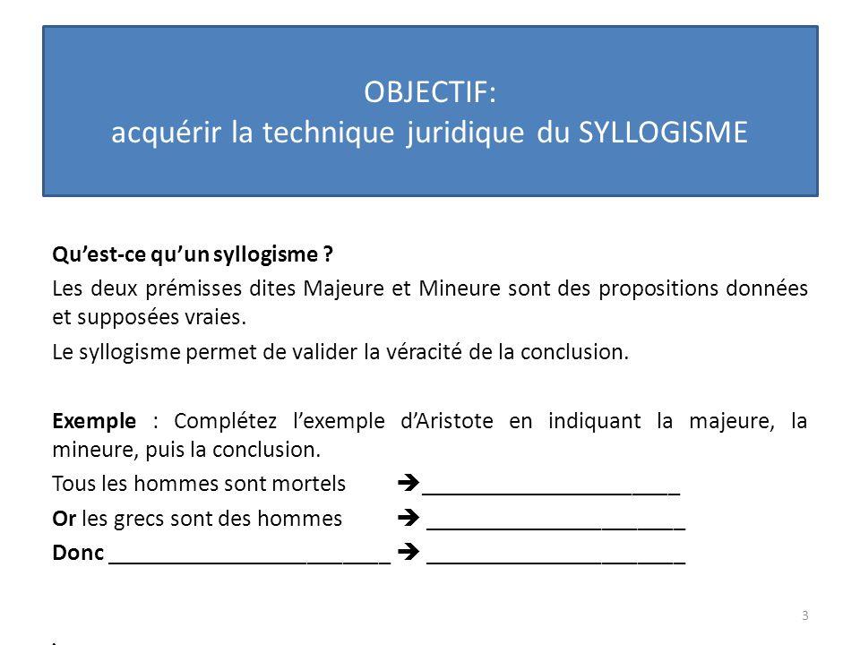 OBJECTIF: acquérir la technique juridique du SYLLOGISME Quest- ce quun syllogisme juridique .