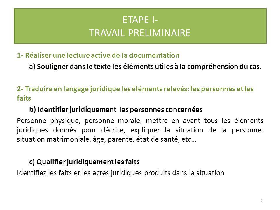 ETAPE I- TRAVAIL PRELIMINAIRE APPLICATION AU CAS 1- Réaliser une lecture active de la documentation a)Souligner dans le texte les éléments utiles à la compréhension du cas.