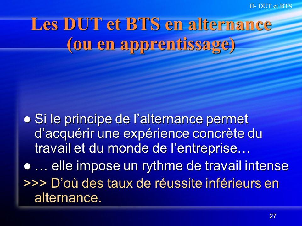 27 Les DUT et BTS en alternance (ou en apprentissage) Si le principe de lalternance permet dacquérir une expérience concrète du travail et du monde de