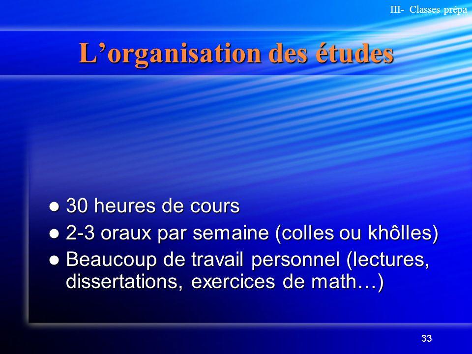 33 Lorganisation des études 30 heures de cours 30 heures de cours 2-3 oraux par semaine (colles ou khôlles) 2-3 oraux par semaine (colles ou khôlles)