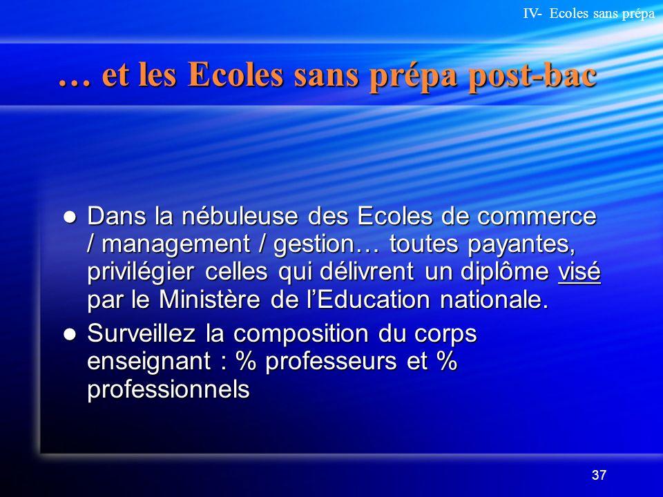 37 … et les Ecoles sans prépa post-bac Dans la nébuleuse des Ecoles de commerce / management / gestion… toutes payantes, privilégier celles qui délivr