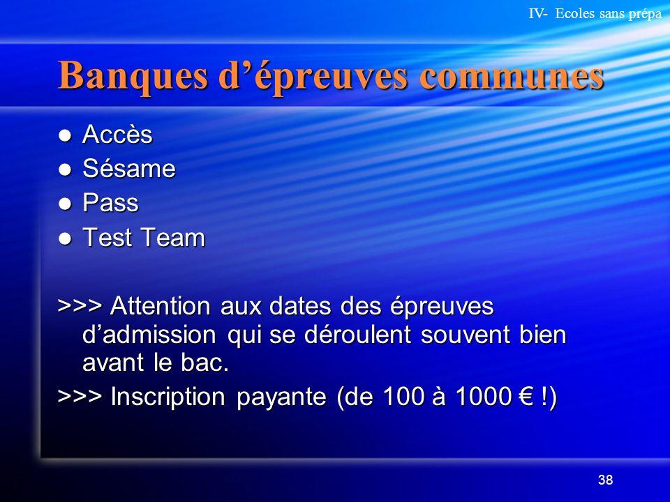 38 Banques dépreuves communes Accès Accès Sésame Sésame Pass Pass Test Team Test Team >>> Attention aux dates des épreuves dadmission qui se déroulent