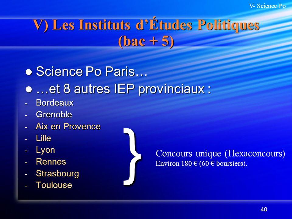40 V) Les Instituts dÉtudes Politiques (bac + 5) Science Po Paris… Science Po Paris… …et 8 autres IEP provinciaux : …et 8 autres IEP provinciaux : - B
