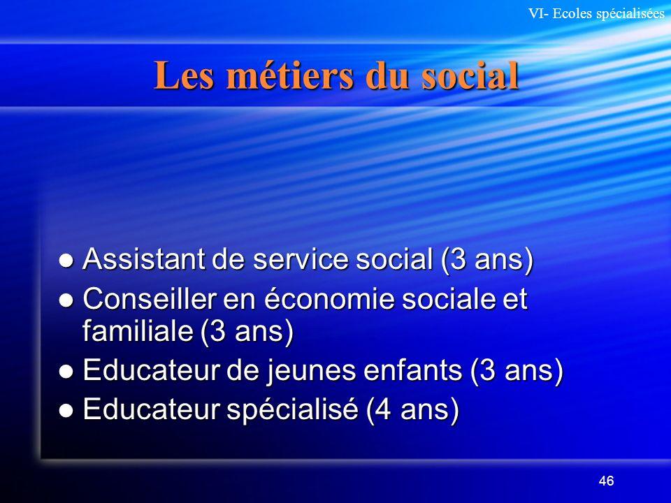 46 Les métiers du social Assistant de service social (3 ans) Assistant de service social (3 ans) Conseiller en économie sociale et familiale (3 ans) C