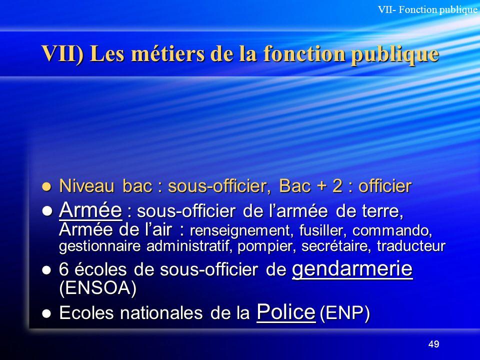 49 VII) Les métiers de la fonction publique Niveau bac : sous-officier, Bac + 2 : officier Niveau bac : sous-officier, Bac + 2 : officier Armée : sous