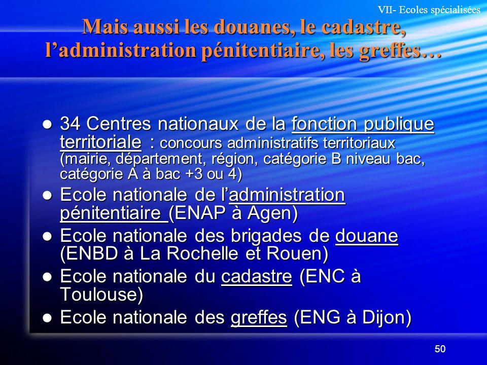 50 Mais aussi les douanes, le cadastre, ladministration pénitentiaire, les greffes… 34 Centres nationaux de la fonction publique territoriale : concou