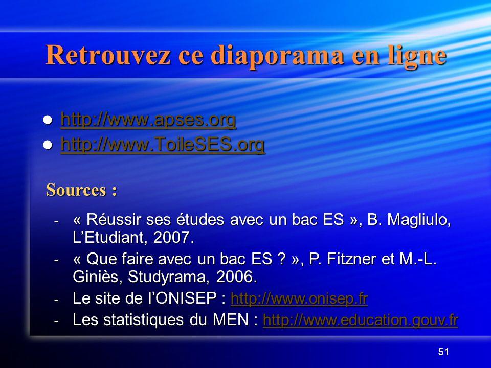 51 Retrouvez ce diaporama en ligne http://www.apses.org http://www.apses.org http://www.apses.org http://www.ToileSES.org http://www.ToileSES.org http