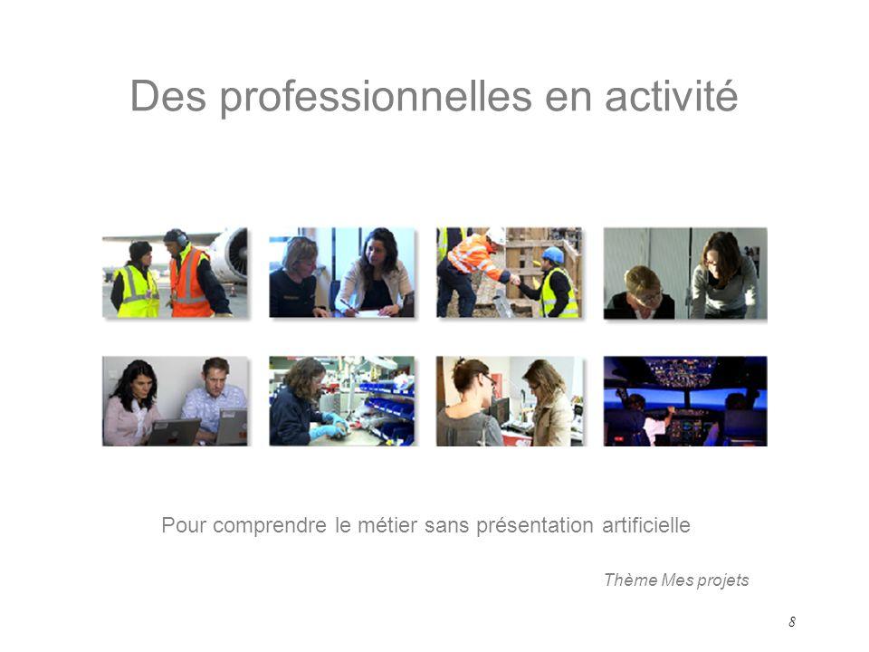 8 Des professionnelles en activité Pour comprendre le métier sans présentation artificielle Thème Mes projets