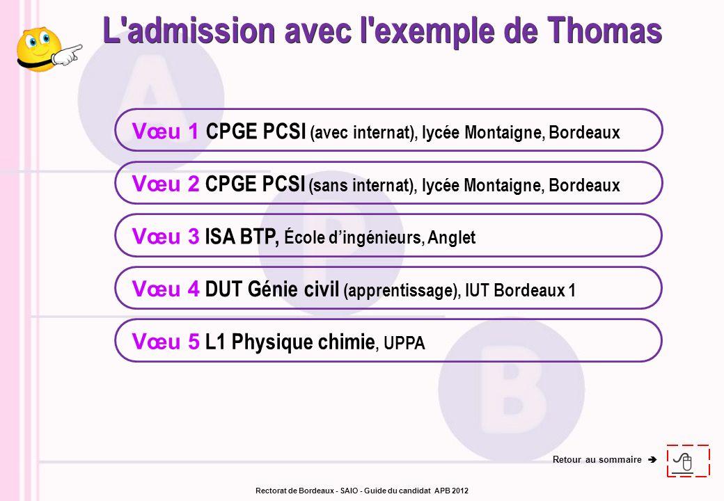 Vœu 1 CPGE PCSI (avec internat), lycée Montaigne, Bordeaux Vœu 3 ISA BTP, École dingénieurs, Anglet Vœu 4 DUT Génie civil (apprentissage), IUT Bordeau