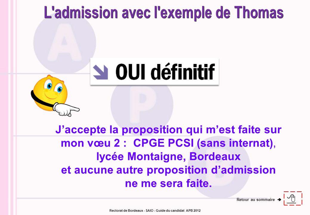Jaccepte la proposition qui mest faite sur mon vœu 2 : CPGE PCSI (sans internat), lycée Montaigne, Bordeaux et aucune autre proposition dadmission ne