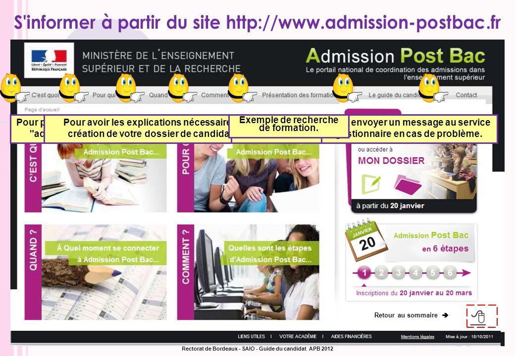 Retour au sommaire Rectorat de Bordeaux - SAIO - Guide du candidat APB 2012
